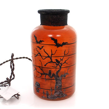 Stony Creek HALLOWEEN LIT JAR Glass Bats Spiders Haunted Hlw7219 Bats