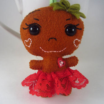 Gingerbread Holiday Ornament - Red Gingerbread Girl - Gingerbread Baby Ornament