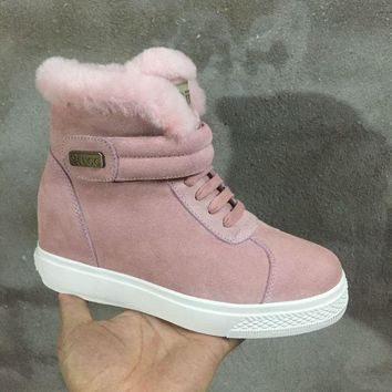 LFMON UGG ZM1609-19-1 Lace-Up Women Men Fashion Casual Wool Winter Snow Boots Pink