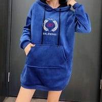 Women Fashion Multicolor Velvet Print Letter Long Sleeve Knit Sweater Mini Dress