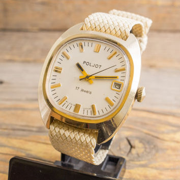 Vintage Poljot mens watch, gold plated Poljot russian watch, ussr ccp soviet watch