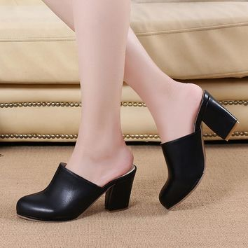 Black Ladies Close Toe High Heel Slippers
