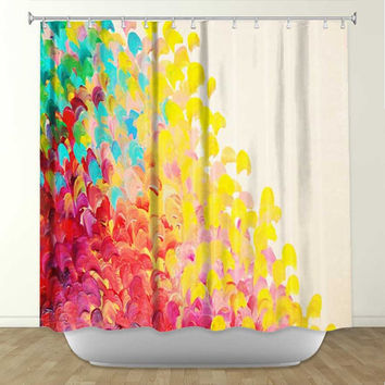 creation in color fine art painting shower curtain washable flor - Colorful Shower Curtains