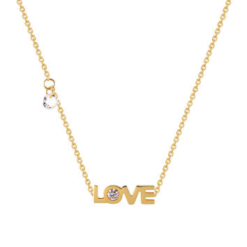 Sideways Love Design Necklace Dainty Choker Pendant Gold Tone Solitaire CZ Stainless Steel
