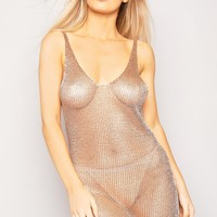ROSE GOLD METALLIC CHAINMAIL KNITTED MINI DRESS