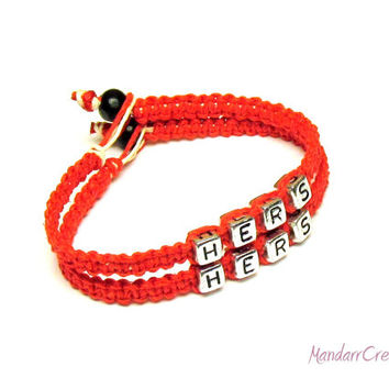 Bracelets for Her, Couples or Best Friends Matching Bracelet Set, Red Macrame Hemp Jewelry