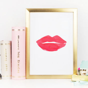 PRINTABLE Art,RED LIP,Makeup Print,Digital Art Print,Red Lip Art,Gift For Her,Girl Room Decor,Beauty Print,Chic Poster,Fashion Art,Famous