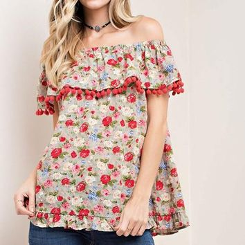 Ladies Fashion - Off the Shoulder Trendy Pom Pom Floral Shirt