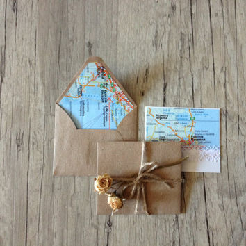 Map envelopes Italy - set of 5 crafted small mini envelopes with cards - writing paper - light blue grey rustic  - europeanstreetteam