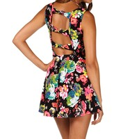 Sale-black/neon Floral Skater Dress