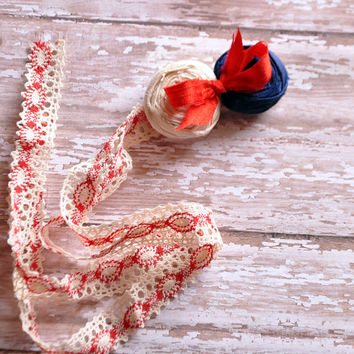 Vintage inspired 4th of July tieback-RTS-photo prop-Independence Day-boho chic halo- tieback-newborn to adult-Dupioni Silk rosettes-boutique