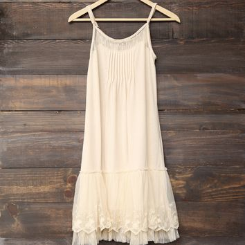 whimsical fairytale lace dress slip - cream
