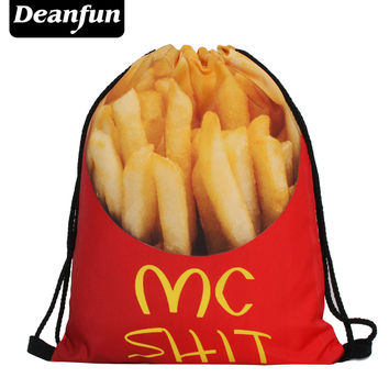 Deanfun Fries Drawstring Bags 3D Printed Food Pattern Women Backpacks SKD 46