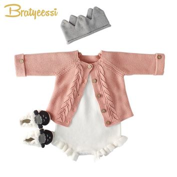 New Knitted Baby Romper for Girls Cotton Infant Jumpsuit Baby Boy Romper White Spring Autumn Baby Onesuit Toddler Newborn Clothes