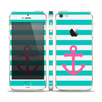 The Teal Striped Pink Anchor Skin Set for the Apple iPhone 5s