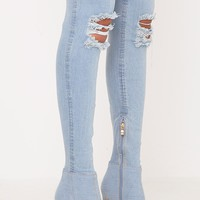 Kaylia Distressed Light Wash Denim Peep Toe Thigh Boots