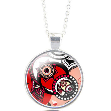 silver dome glass necklace - Polka-dot flower white red black pink handmade in France by Milacrea