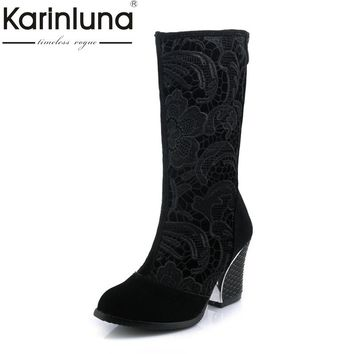 Karinluna Women's Summer Boots Fashion Chunky High Heels Round Toe Platform Half Knee Boots Shoes Big Size 33-43