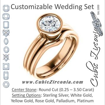 CZ Wedding Set, featuring The Stacie engagement ring (Customizable Bezel-set Round Cut Solitaire with Grooved Band)