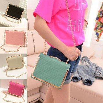 Candy Color Crossbody Shoulder Women Messenger Bags Ladie PU Leather Handbag = 1705630020