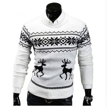 X-mas Sweaters Male Men O-Neck Long Sleeve Cotton Fashion Christmas Sweater with Deer Pattern Brand Slim Pullovers