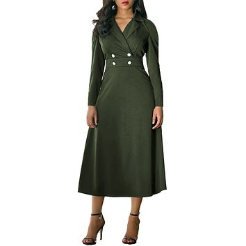 Chicloth Army Green Vintage Button Collared Fit-and-flare Dress