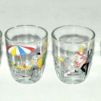 Vintage Barware-Shotglasses-Parisian Cafe-Theme