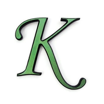 Hand Painted Letter K decorative wall letter with beveled edges in metallic olive green on black  made to order alphabet letters and symbols