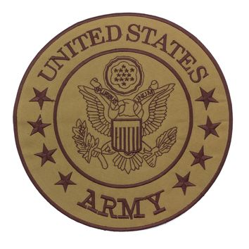 United States Army Brown on Gold Center Patch Iron on for Biker Vest and Jacket