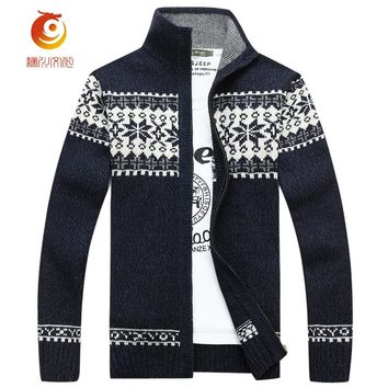 Mandarin Collar Men Sweatercoat Blue Hombre 2017 Spring Thin Wool Cardigans Masculino Thick Warm Long Sleeve Zip Sweaters Men