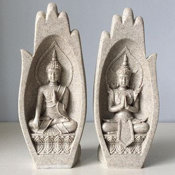 2Pcs Small Buddha Statue Monk Figurine
