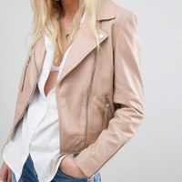 Lab Leather Biker Jacket in Nude at asos.com