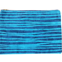 Modern Zipper Pouch With Navy And Light Blue Horizontal Stripes, Purple Lining, And Navy Metal Zipper