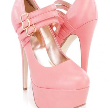 Melon Maryjane Closed Toe Mid Strappy Scoop Vamp Platform High Heels