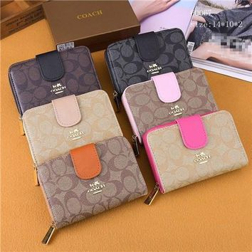 coach classic letter logo print zip buttons wallet women fashion multifunction purse