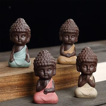 small Buddha statue monk figure  tea pet  ceramic buddhist craft Zakka decorative ornaments buda India Yoga figurines home docer