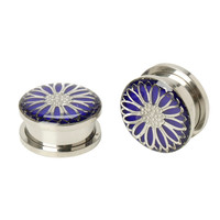 Steel Purple Glow Flower Spool Plug 2 Pack