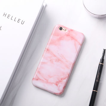 Glossy Granite Pink Marble Phone Case for iPhone 6s 6 6Plus 6+ 7 7Plus Soft TPU Silicon Funda Cases Back Cover -0324