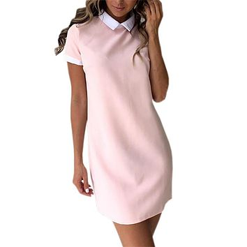 Office Dress 2017 New Summer Dress Robe Vestidos Overalls Casual Women Work Dresses OL Kawaii Turn-down Collar Plus Size GV634