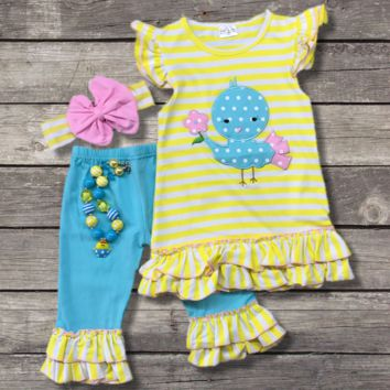 Blue Easter Chick Capri Outfit