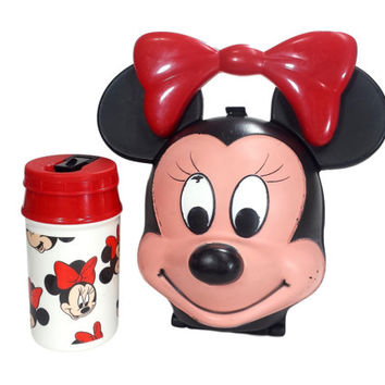 Vintage Minnie Mouse Head Lunch Box and Thermos, Retro 80s 90s Walt Disney Aladdin Minnie Kids School Luncbox Disneyana Collectible Decor