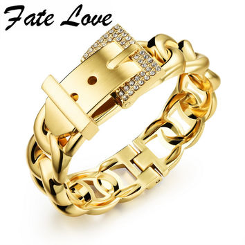Fate Love Punk Women Jewelry Smooth Simply Girl Bracelet Gold Plated 18mm Wide Bracelet Crystal Paved Clasps Belt Buckle HD499