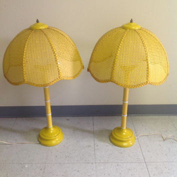 Pair Vintage 1960's Yellow Faux Bamboo Lamps Rattan Shades Glass Globe Shades