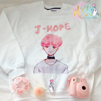 BTS YNWA watercolor pink J-Hope crewneck sweatshirt © Design by Yoomint