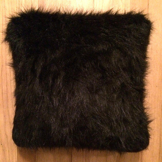 Black Faux Fur Throw Pillow/Cushion Cover from haleylynneee on