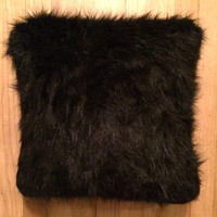 Black Faux Fur Throw Pillow/Cushion Cover