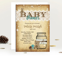 Rustic Baby Shower invitation boy mason jar teddy bear rustic boy or girl pink or blue printed or printable shower invites vintage lace jar