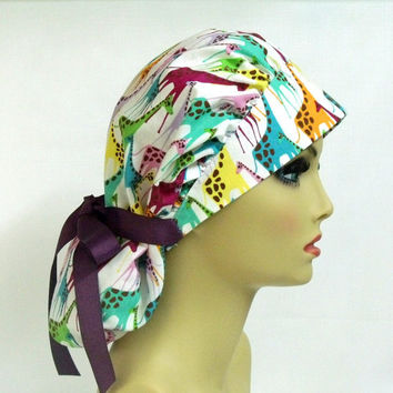 Women's Bouffant  Surgical Scrub Hat or Cap Giraffe