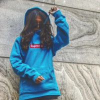 Supreme : Fashion Drawstring Embroidery Long Sleeve Top Sweater Pullover Hoodie