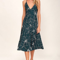 Keepsake Heatwave Dark Teal Floral Print Midi Dress